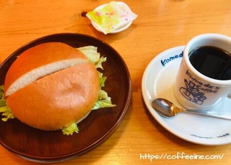 コメダ珈琲店のドミグラスバーガーとホットコーヒー